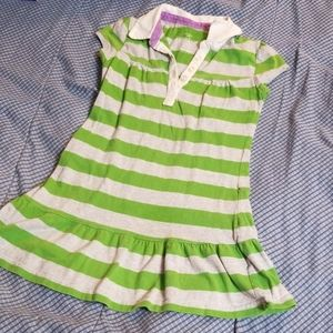 Green and gray striped dress